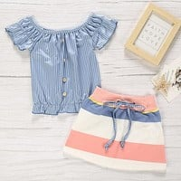 Casual Striped Blue Girl Two-piece Skirt Set
