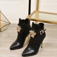 Versace Womens Fashion Tribute Ankle Boots Leather Zipper Ankle Short Boots Flats High Heels Shoes Winter Autumn black