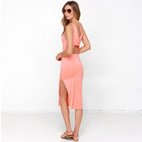 Summer Hot Sale Slim Sexy Backless Split Dress One Piece Dress [4966215684]