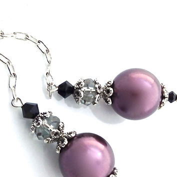 Silver Chain Earrings, Dangle, Drop Pearl, Purple, Deep Purple, Swarovski