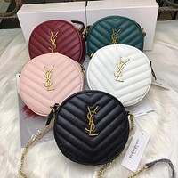 Hipgirls YSL New Women's Letter Buckle Retro Round Pie Bag Diagonal Crossbody Bag