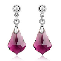 Imported Austrian Crystal Earrings - Baroque leaf export to Europe and America jewelry factory strength    PURPLE