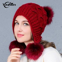 YOUHAN Rabbit Skullies Beanies Winter Hat For Women Lovely Warm Hat Thicken Knitted Cap Fashion Winter Hats