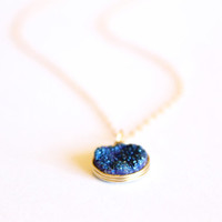 Dark Blue Druzy Necklace - 14k Gold or Sterling Silver - Wire Wrapped - Minimalist - Simple Gold - Druze Bridesmaids Layering Sparkling Thin