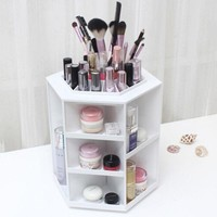 LMFON1O 360 Degree Rotation Rotating Make up Organizer Cosmetic Display Brush Lipstick Storage Stand White Hot Selling Day First