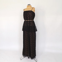 Vintage 1970s does 1920s Flapper Dress Black Lace Maxi Gown Art Deco Glam 1930s Dress Edwardian Gown 70s Marita by Anthony Muto Tiered Dress