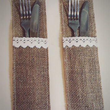 HANDMADE Burlap Lace Wedding Cutlery Holder Pouch Rustic Decorations