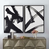 Framed Prints - Abstract Ink Brush