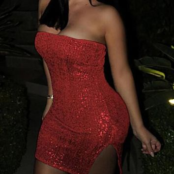 New Red Bandeau Sequin Off Shoulder Backless Side Slit Sparkly Bodycon Clubwear Mini Dress