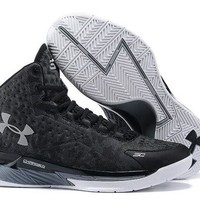 LMFON3A VAWA Men's Under Armor Curry 1 Basketball Shoes Black