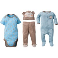 Gerber Newborn Baby Boy Sleep N' Play, Onesuits Bodysuit, Pant & Cap, 4pc Set - Walmart.com