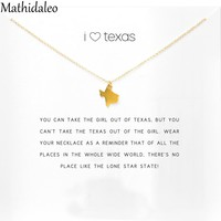 I Love Texas Necklace Gold Color Pendant Necklace Clavicle Statement Necklace Women Jewelry E052