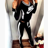 """""""NIKE"""" Fashion Casual Multicolor Letter Print V-Neck Hooded Long Sleeve Set Two-Piece Sportswear"""