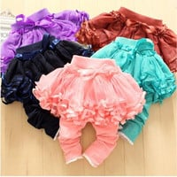 40 pcs/lot Children Clothes Baby Girl's Pants Kids Baby Girl's Culottes Baby Lace Net Yarn Leggings The New Girls Culottes Casual Pants.