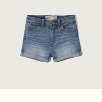 High Rise Stretch Denim Shorts