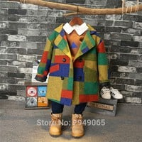 Boy and girl's winter spring jacket cotton jacket, 2017 new wool overcoat children add thick tweed jacket han edition tide