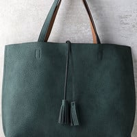 When We Were Young Tan and Teal Green Reversible Tote