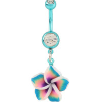 14G Steel Teal & Pink Hawaiian Flower Navel Barbell