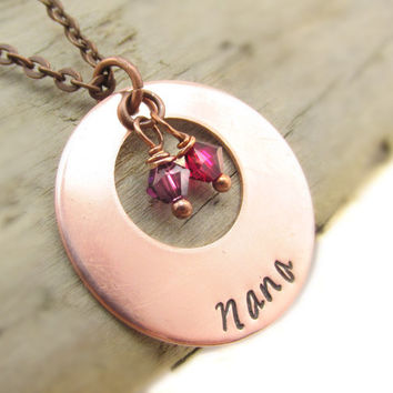 Nana Swarovski Charm Necklace, Personalized Necklace, Birthstone Necklace, Gift for Grandmother, Mommy Jewelry, Crystal Birthstone Necklace