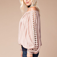Textured Silky Lace Sleeve Top - Khaki