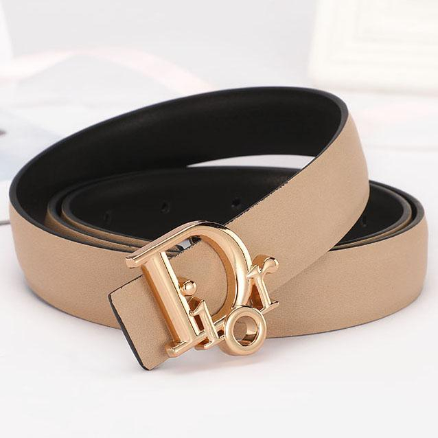 Image of Christian Dior Fashion Women Cool Canvas CD Letter Smooth Buckle Waist Belt