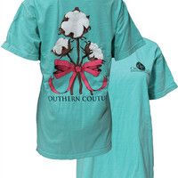 Southern Couture Cotton Ribbon Bow Chalky Mint Girlie Bright T-Shirt