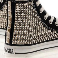 LMFONB Studded Converse Silver Pyramid studs with converse Black high top / Oneside Studded