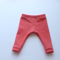 Coral Textured Cuffed Baby Girl Toddler Sweatpant Legging