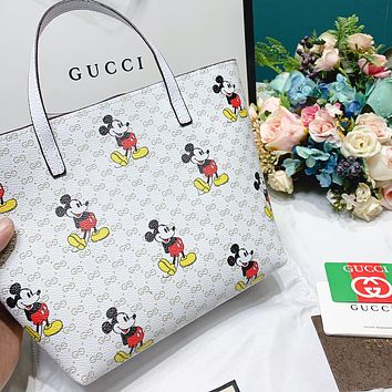 GUCCI New Fashion Women Shopping Mickey Mouse Print Leather Handbag Tote Shoulder Bag