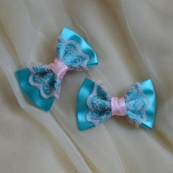 Mini hair bow - turquoise blue and pink - fairy kei decora lolita harajuku romantic kitten play princess fashion kawaii costume prop