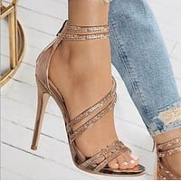 Hot style soup diamond crystal women's high heels often