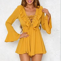 Lace Up Deep V Sexy Women Playsuits Jumpsuit Backless Ruffles Neck Long Sleeve Women Chiffon Rompers