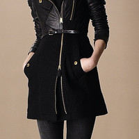 Felted Wool and Leather Trench Coat