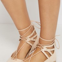 Nude Lace-Up Studded Flat By Qupid | Pointed Toe | rue21