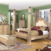 5 pc Mandallay collection antique white wood finish Queen canopy bedroom padded headboard set with marble tops