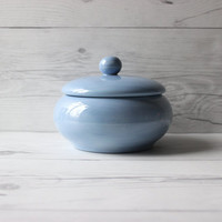 Vintage Light Blue Painted Decorative Ceramic Trinket or Jewelry Jar with Lid   Country Cottage Minimalist
