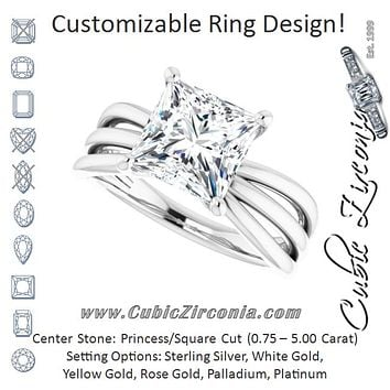 Cubic Zirconia Engagement Ring- The Maha (Customizable Princess/Square Cut Solitaire Design with Wide, Ribboned Split-band)