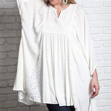 Plus Size Long Sleeve Dress Tunic With Lace Detail