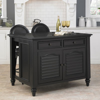 Home Styles Furniture 5588-948 Bermuda Black Kitchen Island and Two Stools