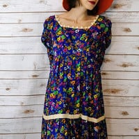 Handmade 1970s Floral Hippie dress with Matching Bag