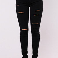 Sassy Distress Jeans - Black