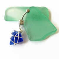 Sea Glass Belly Ring Blue Sea Glass Belly Button Piercing Sea Glass Navel Piercing Sea Glass Belly Ring Piercing Body Jewelry (BR2)
