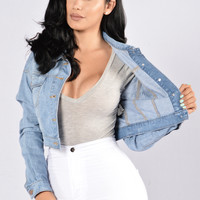 Keep It Short Denim Jacket - Blue