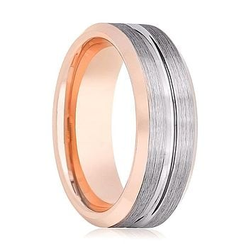 Rose Gold Men's Tungsten Wedding Band with Silver Brushed Outside and Beveled Edges