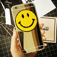 Fashion Cute Plating Mirror & Clear Smile blink Funny phone case For iphone 5 5s 6 6s 6 6S Plus