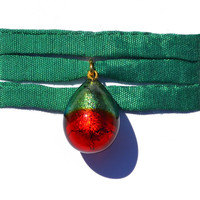 Murano's Droplet, Green and Scarlet, Wrist