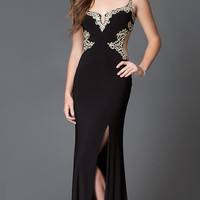 Black and Gold Open Back Floor Length Jump Prom Dress with Lace Detailing