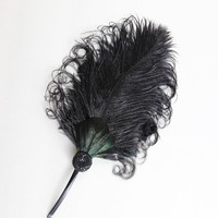 Black Feather Fascinator, Bobbie Pin, Hair Accessory, Retro, Unique Weddings, Bridesmaid, Prom, Formal, Batcakes Couture