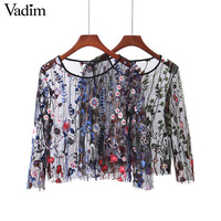 Vadim women sexy see through floral embroidery mesh shirts transparent long sleeve blouse female casual brand tops blusas LT1810