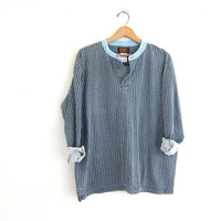 vintage long sleeve top. button front henley. plaid shirt with denim collar